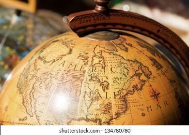 TEL AVIV - AUG 26: Vintage globe displaying North America on August 26 2011 in Tel Aviv, Israel.