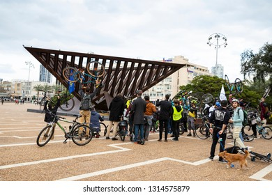 Tel Aviv, Tel Aviv-Yafo, Rabin square, Israel - December 28, 2018:The cyclists join the Critical mass protest Ride at Rabin Square - monthly organised protest on demand for safe network bike path