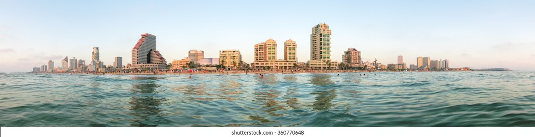 Tel Aviv city panoramic view from Mediterranean Sea.
