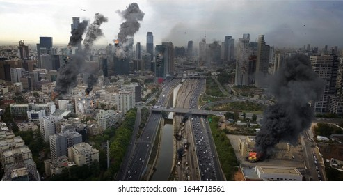 Tel Aviv City Under attack in war aerial view  Powerful Image Compositing Real drone Image with visual effects elements, of Israel Tel aviv city under attack With  smoke and Destroyed buil