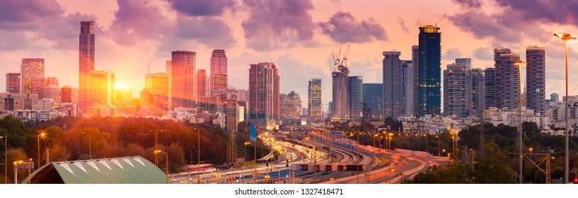 Tel Aviv Cityscape - View of Tel Aviv at Sunset, Israel