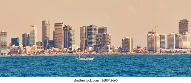 Tel Aviv coast panoramic view. Mediterranean, Middle East, Israel. Image done in vintage retro instagram style