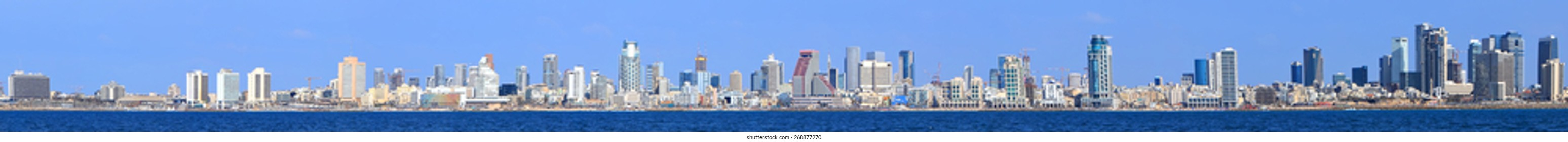 Tel Aviv coast panoramic view. Mediterranean, Middle East, Israel