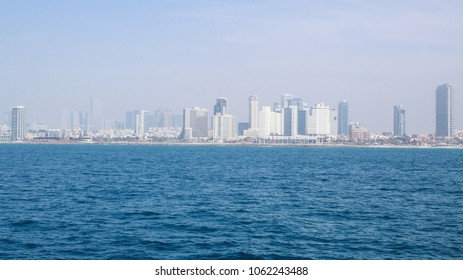 Tel Aviv coast, view from Mediterranean Sea