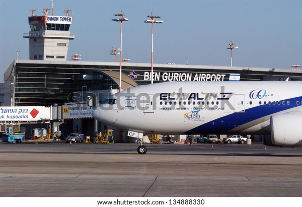 TEL AVIV - DEC 08 2008: EL AL jet plane at the Ben Gurion International Airport in Lod near Tel Aviv, Israel.EL AL has one of the best safety and tight security in the industry