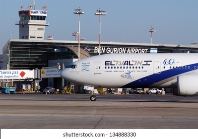TEL AVIV - DEC 08: EL AL jet plane at the Ben Gurion International Airport on April 08 2008 in Tel Aviv, Israel.EL AL has one of the best safety and tight security in the industry