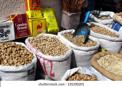 TEL AVIV - FEB 27 2007:Spices and grains on display in the Carmel Market, Tel Aviv, Israel. The spice trade developed throughout South Asia and Middle East in around 2000 BC with cinnamon and pepper