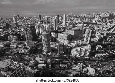 Tel Aviv - February 2, 2017: Aerial photography of the city Tel Aviv