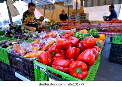 TEL AVIV, ISR - MAR 27 2015:Fresh vegetables for sale in Shuk HaNamal Market in Tel Aviv port Israel.It's a food and produce market and the only fully covered of all Tel Avivs marketplaces.