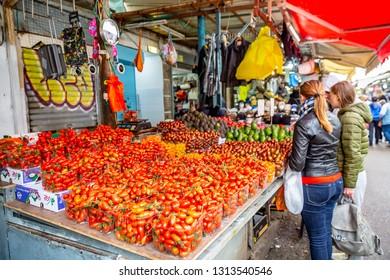 Tel Aviv, Israel- 01.06.2019: Carmel Market Shuk HaCarmel in Tel Aviv, Israel.