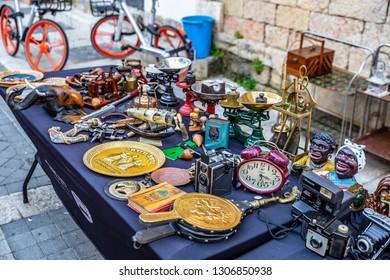 TEL AVIV, ISRAEL - 01.07.2019 : The flea market in the old city of Jaffa Yafo , Tel Aviv. Israel.