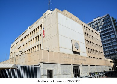 TEL AVIV ISRAEL 03 11 16: Embassy of the United States of America in Tel Aviv is the diplomatic mission of USA in the State of Israel.The U.S. also maintains a Consulate General in Jerusalem.