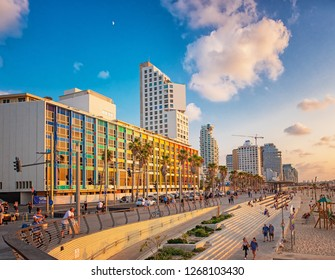 TEL AVIV, ISRAEL - 17 OCTOBER, 2018: View on the beach in Tel Aviv with some of its iconic hotels on 17 October 2018