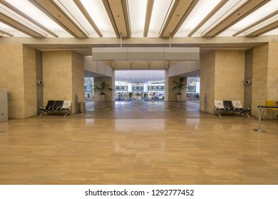 TEL AVIV, ISRAEL - 18 MARCH 2018: Ben Gurion airport  interior terminal arrivals