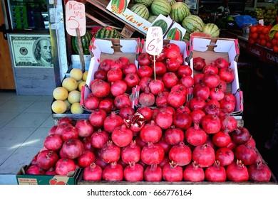 TEL AVIV, ISRAEL - 2017 JANUARY 7 : Beautiful red pomegranates in a juice shop in the market in Tel Aviv Israel Shuk Carmel