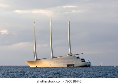 TEL AVIV, ISRAEL - 2017 NOVEMBER 27 : The largest yacht in the world of the russian  Andrey Melnichenko designed by Philippe Starck