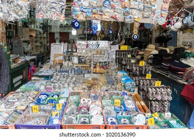 TEL AVIV, ISRAEL - 2018 FEBRUARY 7 : Souvenir shop of Jewish gift in the Carmel market