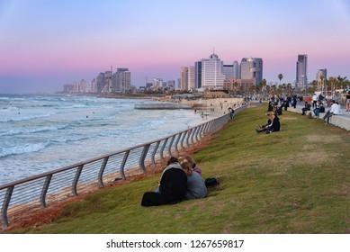 Tel Aviv, Israel - 2018-12-26: A view of Tel Aviv from Jaffa