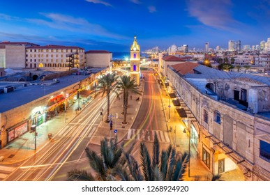 Tel Aviv, Israel - 2018-12-26: A view of the clock tower in Jaffa
