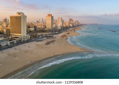 Tel Aviv, Israel - 6 July, 2018: A view of Tel Aviv on the Mediterranean coastline