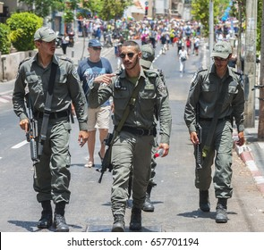 Tel Aviv, Israel - 9th June, 2017: Security forces at the city streets during the Gay Parade