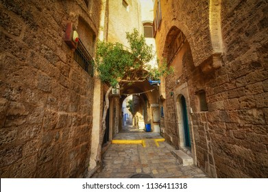 Tel Aviv, Israel, ancient stone streets in Arabic style in Old Jaffa