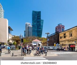 TEL AVIV, ISRAEL - APRIL 03, 2018  : Cityscape of boulevard Rothschild with luxury apartment skyscrapers  in Tel Aviv, Israel.