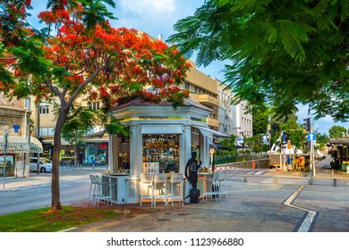 TEL AVIV, ISRAEL - APRIL 20, 2018 : Street coffeshop at Rothschild boulevard in Tel Aviv, Israel.
