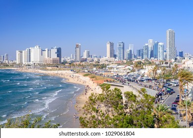 TEL AVIV, ISRAEL - APRIL, 2017: View of the coastline of Tel Aviv from the observation deck in old Jaffa.