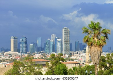 TEL AVIV, ISRAEL - APRIL, 2017: View of the modern part of the city, thunderstorm