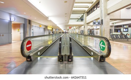 Tel Aviv, Israel - April 2017: Moving walkway in the international Ben Gurion airport
