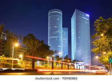 TEL AVIV, ISRAEL- APRIL, 2017: Night city, Azrieli center, Israel