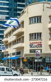TEL AVIV, ISRAEL - APRIL 23, 2015 : Bauhaus style building at boulevard Rothschild  and Alenby street corner in Tel Aviv, Israel.