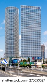 TEL AVIV, ISRAEL - APRIL 23, 2015 : Azrieli Center view from The bridge  above Menahem Begin street.