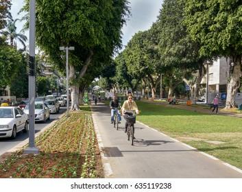 TEL AVIV, ISRAEL - APRIL 26, 2017 : Cityscape of boulevard Rothschild in Tel Aviv, Israel.