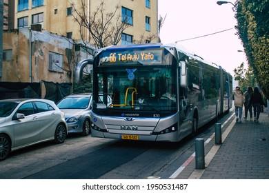 Tel Aviv Israel April 4, 2021 Public bus driving through the streets of Tel Aviv during the coronavirus outbreak in Israel