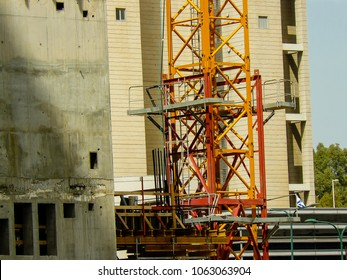 Tel Aviv Israel April 5, 2018 View of a construction site of a new building in Tel Aviv town afternoon