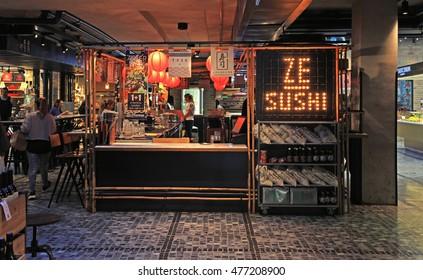 TEL AVIV, ISRAEL - APRIL 7, 2016: Modern chinese open kitchen restaurant in the new Sarona food market, Tel Aviv, Israel