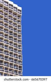 TEL AVIV, ISRAEL - AUG 16, 2016 : Upward View on Modern Building. Beach Hotel. Balconies of modern hotel. Bright blue sky background