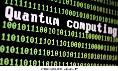 TEL AVIV, ISRAEL - AUG 29, 2015: Computer screen with quantum computing logo with a binary computer code background illustration. Selective focus