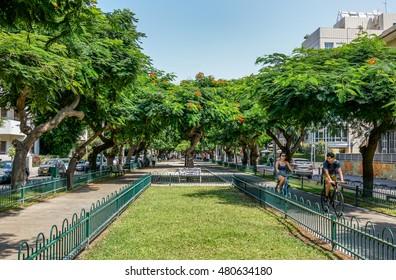 TEL AVIV, ISRAEL - AUGUST 08, 2016 : Landscape of  boulevard Rothschild in the center of Tel Aviv, Israel. Boulevard Rothschild is the most prestige street  in Tel Aviv.
