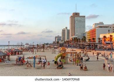 TEL AVIV, ISRAEL - August 10, 2018: Sunset scene of the famous Tel Aviv promenade and beaches in Israel.
