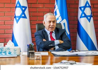TEL AVIV, ISRAEL. August 14, 2019. Prime minister of Israel Benjamin Netanyahu meeting with Israeli journalists at the Beit-Jabotinsky compound. Israel political crisis, coalition talks, form cabinet
