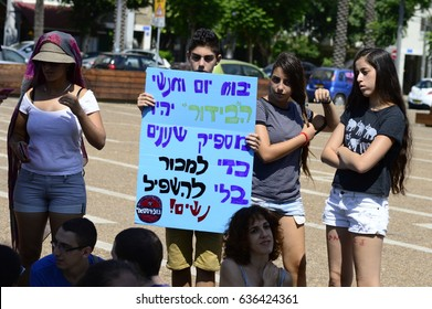 Tel Aviv, Israel- August 14, 2015: The 4th 'SlutWalk' march in Tel Aviv. The Slut Walk rallies started in Canada after a Toronto cop said in 2011 'Don't Dress Like Sluts' To Avoid Sexual Assault.