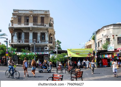 TEL AVIV, ISRAEL - AUGUST 18, 2010: Wide angle picture of old building at Magen David Square in Tel Aviv, Israel