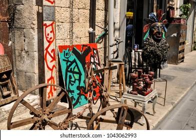 Tel Aviv, Israel, August 2016, street art in one of Tel Aviv open air markets