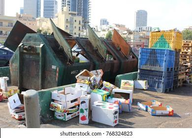 TEL AVIV, ISRAEL - August 24, 2016: dump in the center of Tel Aviv, next to the Carmel market on august 24, 2016 Tel Aviv-Yafo, Israel