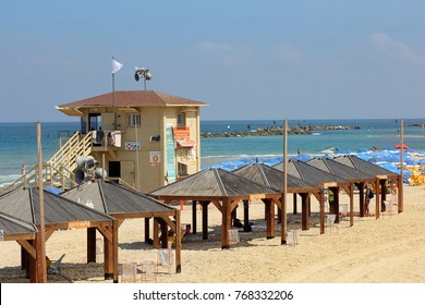 TEL AVIV, ISRAEL - August 24, 2016: booth lifeguards on the beach of Tel Aviv on august 24, 2016 Tel Aviv-Yafo, Israel
