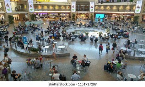 TEL AVIV, ISRAEL. August 6, 2018. Passengers waiting for their flight in the inner departure hall in the duty free zone of the international Ben Gurion airport, terminal 3
