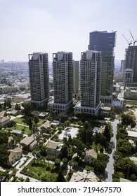 TEL AVIV, ISRAEL Cityscape with towers Sarona area main landmark  Old and New Architecture